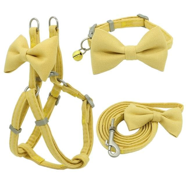 Dog Harness Leash Collar Set Adjustable Soft Cute Bow Double Layer Dog Harness for Small Medium Pet Collar Leash Outdoor Walking - Chihuahua We Love