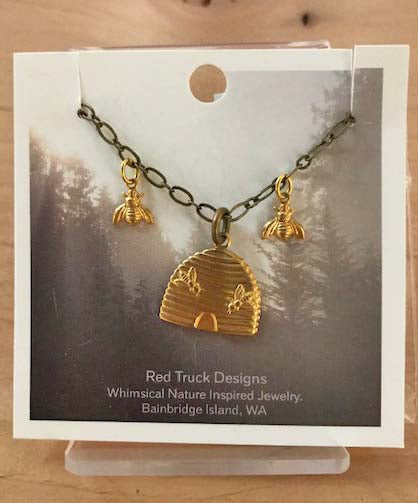 Red Truck Designs Gold Beehive Charm Necklace