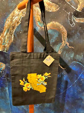 Load image into Gallery viewer, California Poppy Black Cotton Canvas Tote
