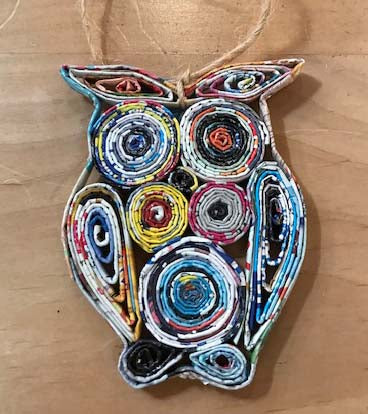 Owl Recycled Magazine Ornament | Holiday or Everyday