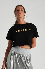 Batshit Crop Tee - Black Gold