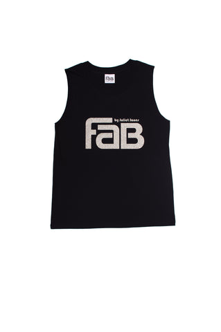 Fab Muscle Tank - Black Gold Sparkle