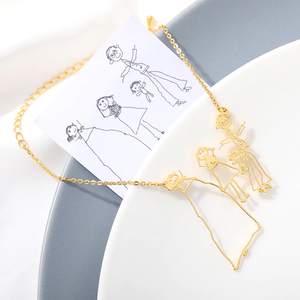 Handwriting Signature Picture Bracelet, Custom Kids Drawing Necklace, Personalized Children Artwork Necklace, Mom Grandma Gift