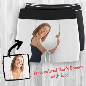Custom Personalized Photo Face Printed Photo Men's Boxer Shorts Underwears Gift