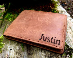 Leather Personalized and Engraved Wallet - When i tell you i love you