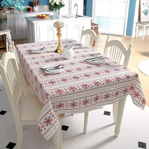 Linen Red Snowflakes Christmas Table Cloth