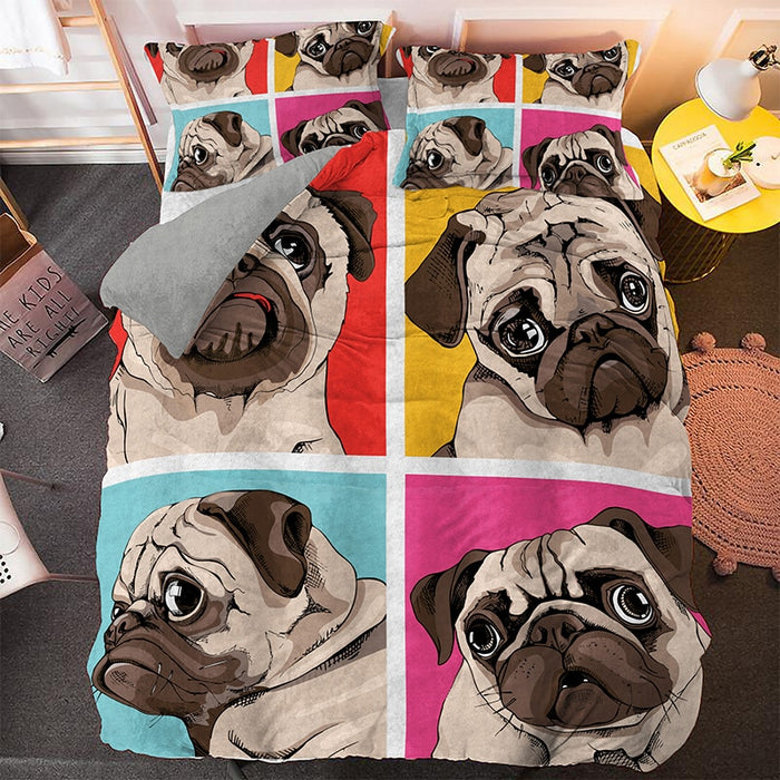 Lovely Pug Pattern Duvet Cover