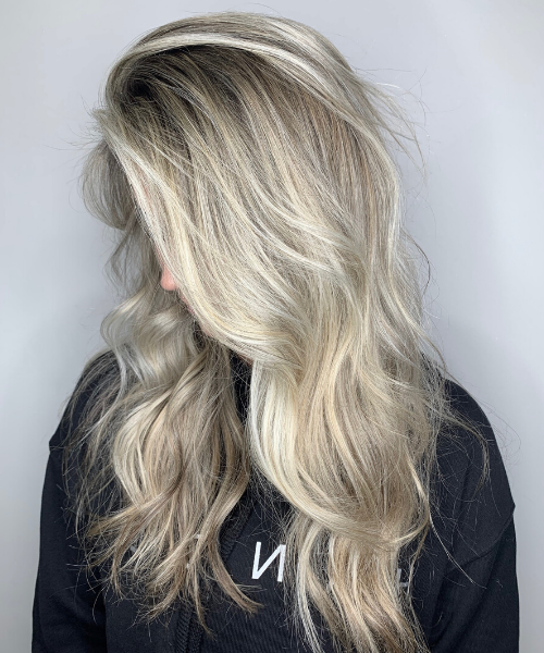 Blonde Hair Down Styled with Waves