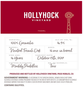 2017 Hollyhock Grenache - Muddy Puddles - 750ml