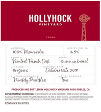 Load image into Gallery viewer, 2017 - Hollyhock Mourvèdre - Muddy Puddles 750ml