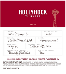 2017 - Hollyhock Mourvèdre - Muddy Puddles 750ml