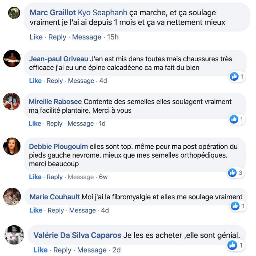 témoignages facebook semelles fit peak