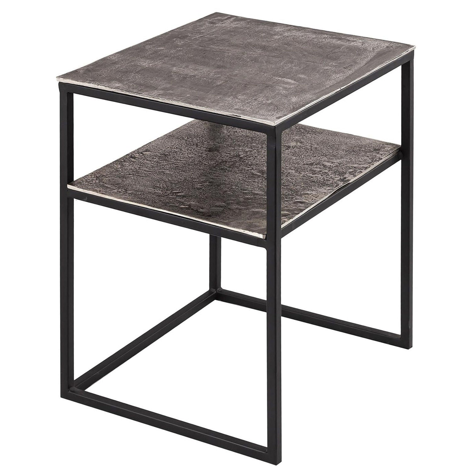 Farrah Collection Silver Side Table with Shelf