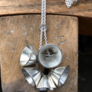 Silver Cone Cluster Necklace
