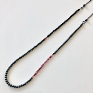 Long Beaded Necklace, Pink Tourmalines