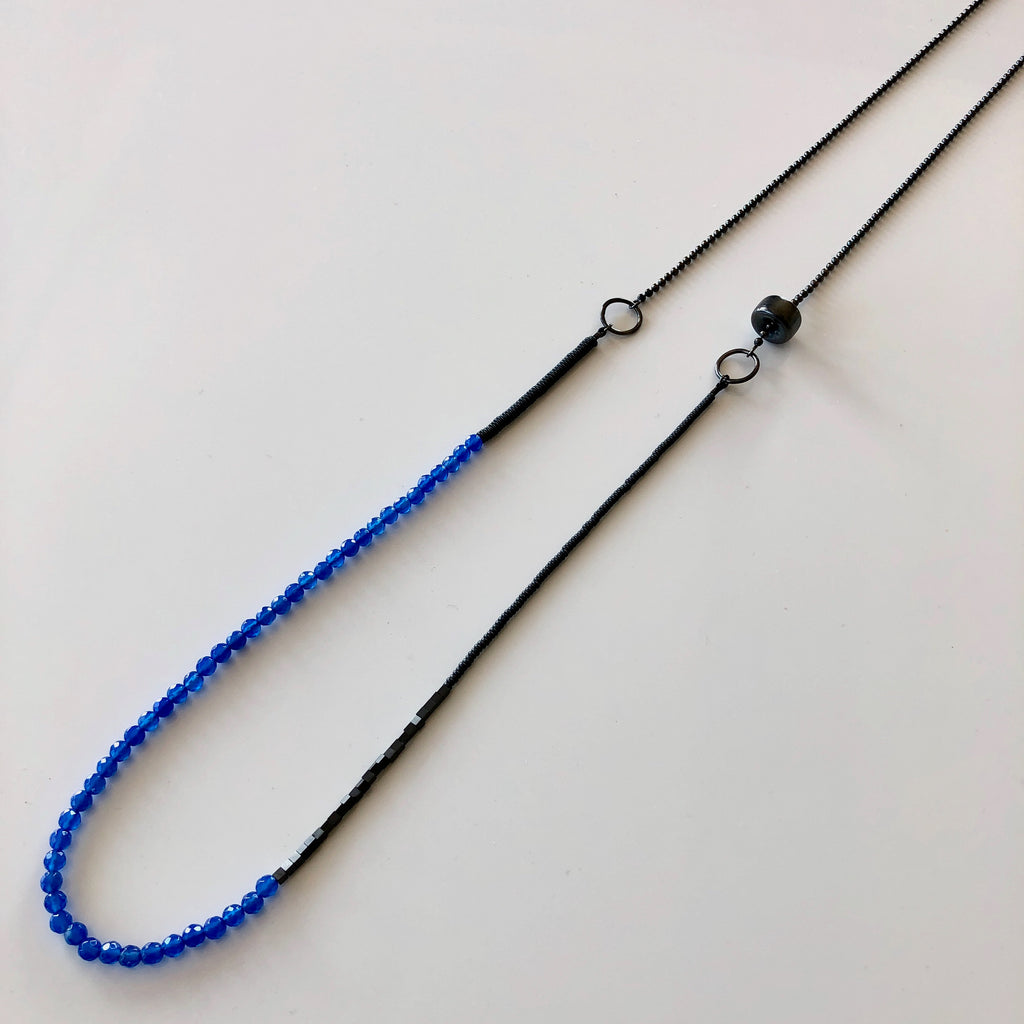 Long Beaded Necklace, Blue Agate