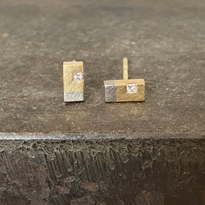 18ct Yellow & White Gold Rectangular Shaped Studs