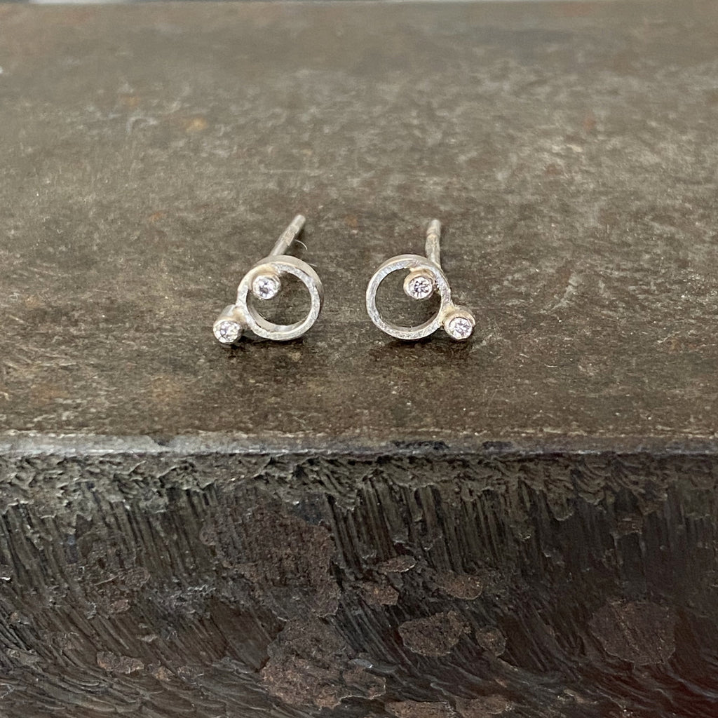 18ct White Gold Circular Studs with Double Diamonds