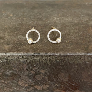 18ct White & Yellow Gold Circular Studs