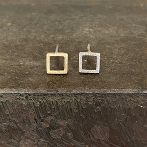 18ct Yellow & 18ct White Gold Square Studs