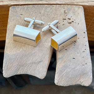 Silver curved long square cufflinks