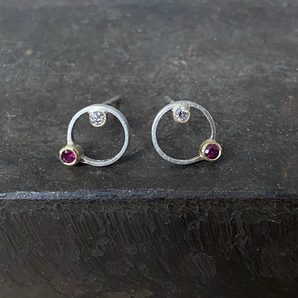 Silver & 18ct Gold Diamond & Ruby Studs