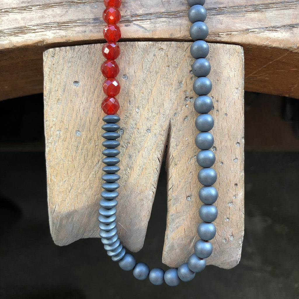 Bold Beaded Necklace, Carnelian