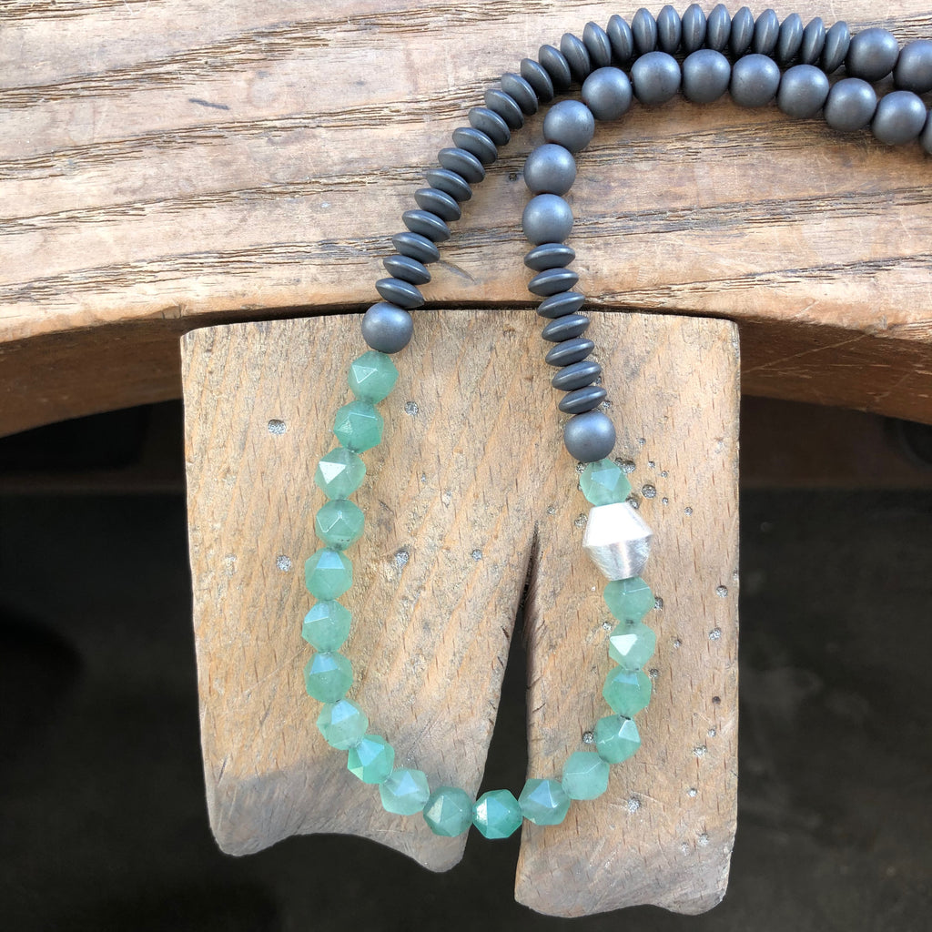 Bold Short Beaded Necklace, Aventurine