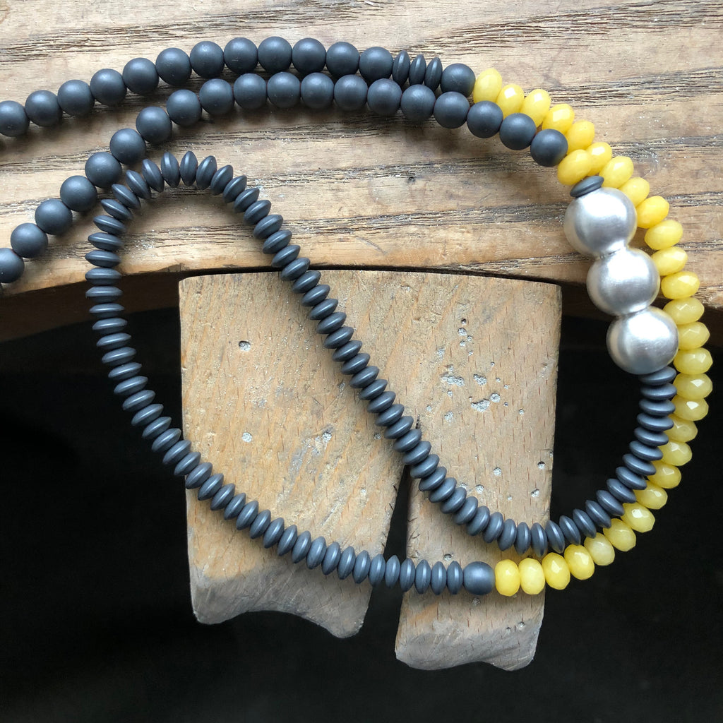Bold Beaded Necklace, Yellow Kyanite