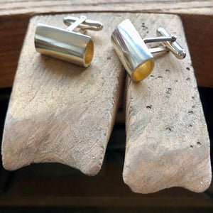 Signature Silver Pear Shape Tunnel Cufflinks