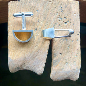 Signature Silver Tapered D Shape Cufflinks