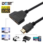 DZLST HDMI Splitter 1 in 2 Out HDMI Male to HDMI Female Adapter Converter Video Cable 1080P 2 Port HDMI Switch for PC Display