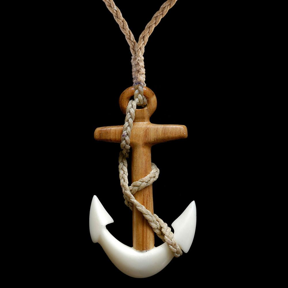 Wood and Bone Fouled Anchor - Zen Gifts NZ