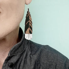 Load image into Gallery viewer, Large hanging Huia feather Rimu earrings - Zen Gifts NZ