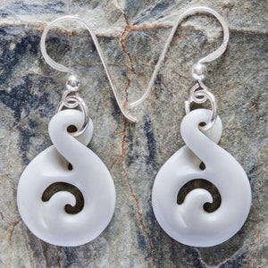 Tiny Bone Twist Koru Earrings - Zen Gifts NZ