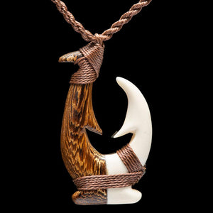 Large Wood and Bone Matau - Zen Gifts NZ