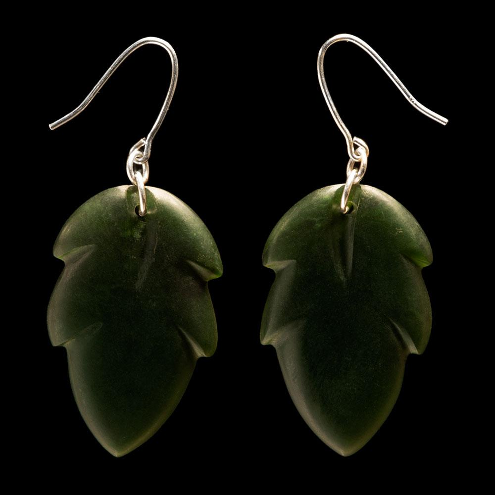Dark Jade Leaf Earrings by Madelyne Gourdin - Zen Gifts NZ