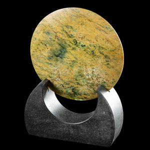 Flower Jade Disc Sculpture by Alex Sands - Zen Gifts NZ