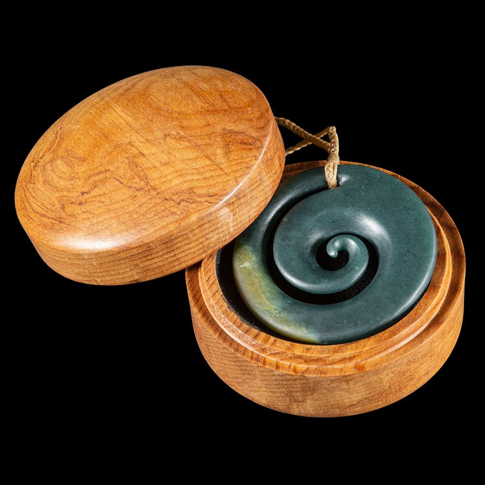 Large Guatemalan Jade Koru in Turned Wooden Box - Zen Gifts NZ