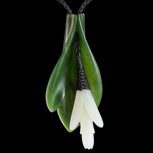 Jade Flower Wearable Art with Wakahuia by Madelyne Gourdin - Zen Gifts NZ