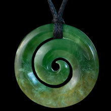 Load image into Gallery viewer, Dark Flower Jade Koru by Elliot Lewis - Zen Gifts NZ