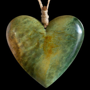 Huge Flower Jade Heart by Elliot Lewis - Zen Gifts NZ