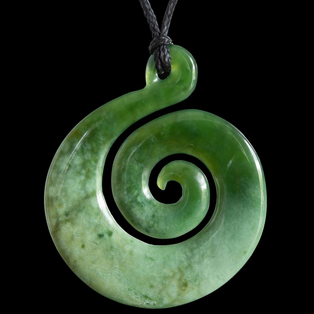 Large Flower Jade Koru by Ross Crump