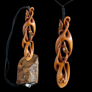 Large Wearable Stained Bone Manaia Twisting Vine Sculpture - Zen Gifts NZ