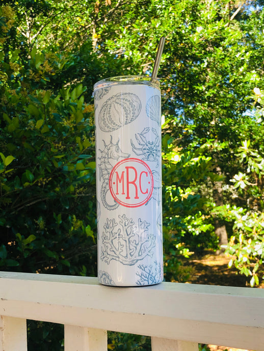 20 oz Slim Stainless Tumbler - Sealife and more patterns