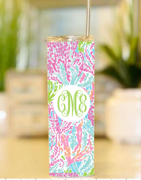 Lilly Inspired Printed Skinny Tumbler