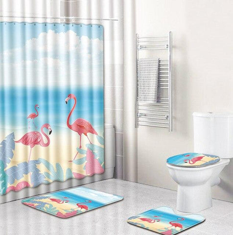 Ensemble de Rideau de Douche Flamant Rose plage | Fun-rideau