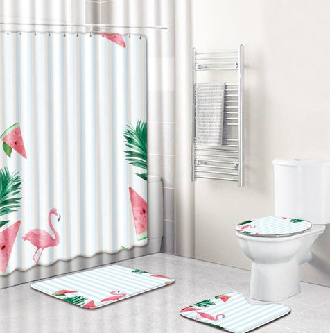 Ensemble de Rideau de Douche Flamant Rose Tropical | Fun-rideau