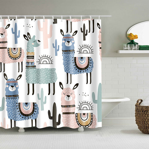 Rideau de Douche Animal <br> Lamas Colorés - Fun-rideau
