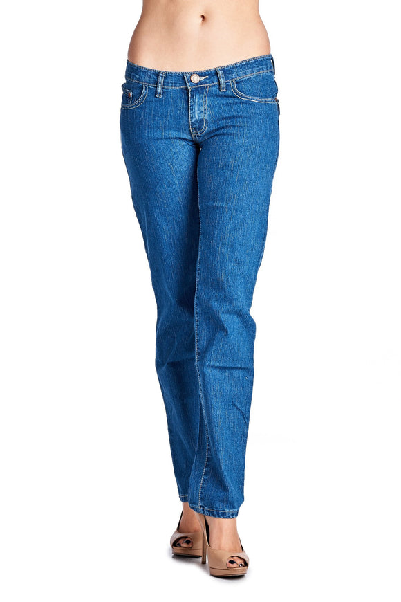 Women's Stretch Denim Jeans with Embroidered Back Pockets
